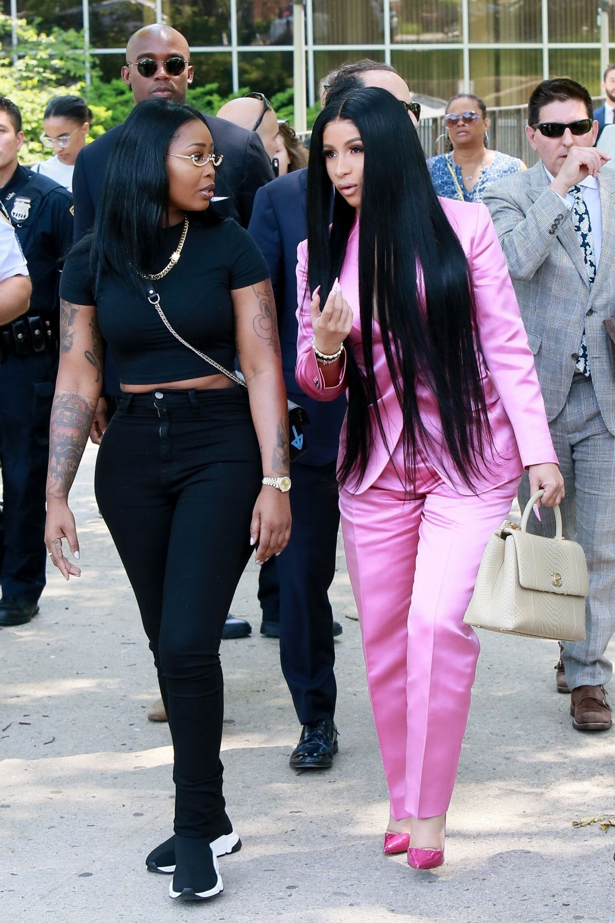 Cardi B Unveils Her Entire Back Tattoo With Bright Pink: CARDI B Arrives At Her Trial At Queens Criminal Court In