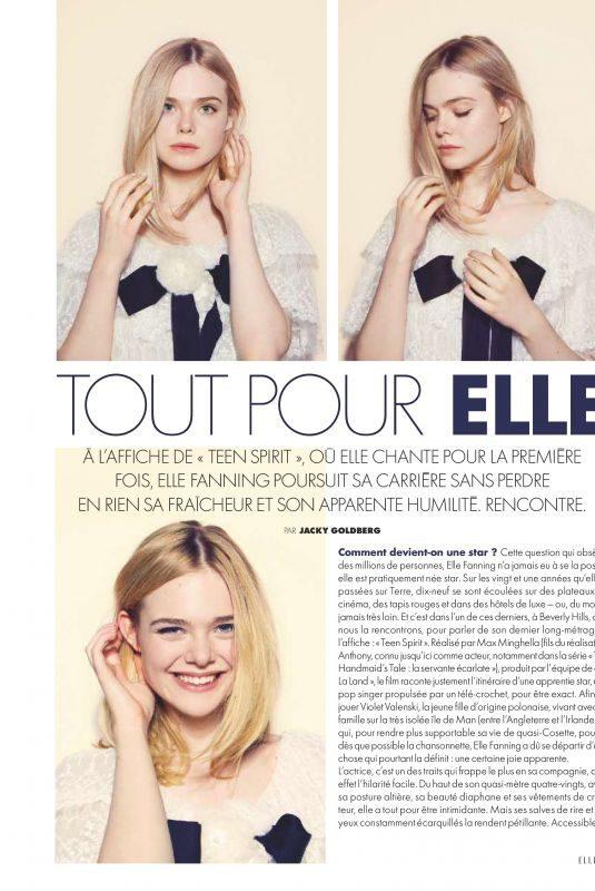 ELLE FANNING in Elle Magazine, France July 2019