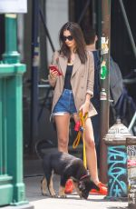 EMILY RATAJKOWSKI in Denim Shorts Out with Her Dog in New York 06/05/2019