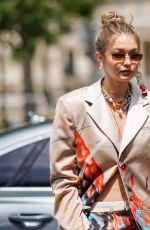 GIGI HADID Arrives at Heron Preston Fashion Show in Paris 06/18/2019