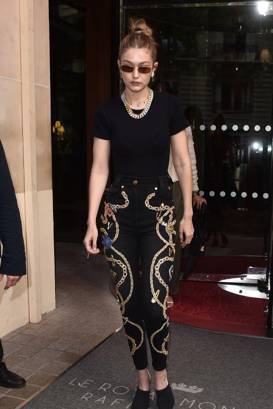 GIGI HADID Leaves Her Hotel in Paris 06/21/2019