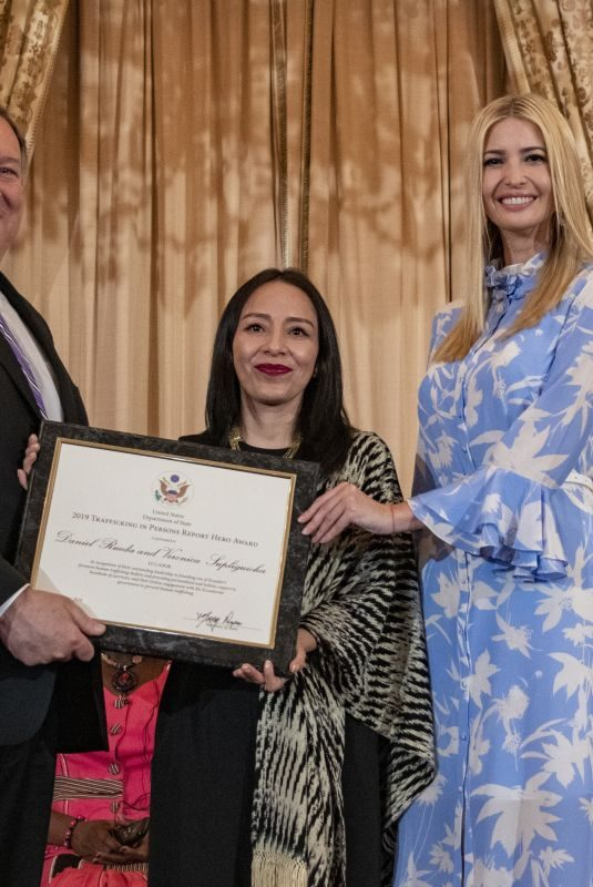 IVANKA TRUMP Presents a Certificate to 2019 Tip Report Hero Veronica Supliguicha of Ecuador in Washington D.C. 06/20/2019
