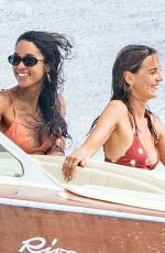 LAURA HARRIER and ELEONORE TOULIN in Bikinis at a Boat in Positano 06/17/2019