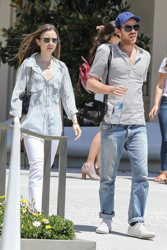 LILY COLLINS Out for Lunch with a Friend in Los Angeles 06/08/2019