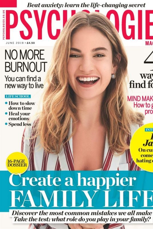 LILY JAMES on the Cover of Psychologies Magazine, UK JUne 2019