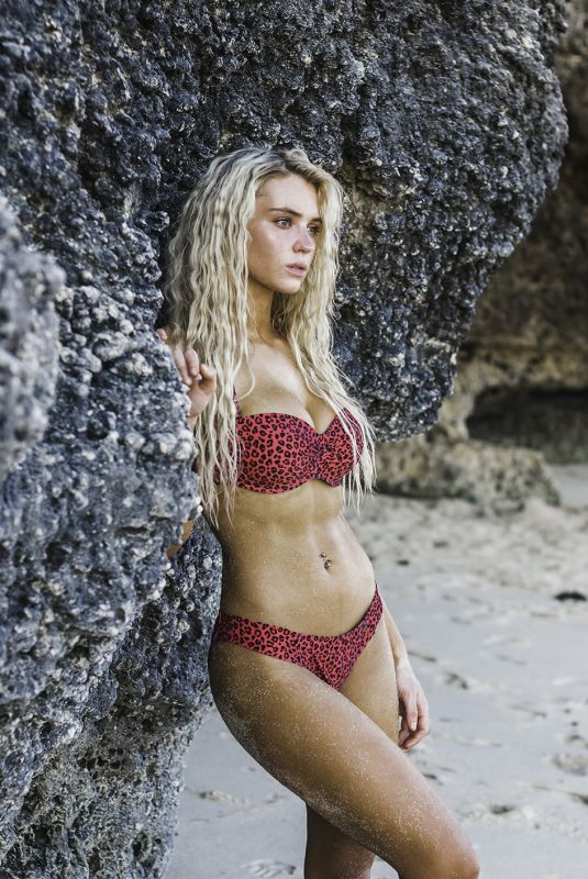LUCIE DONLAN in Bikinis on the Set of a Photoshoot at a Beach in Bali, February 2019
