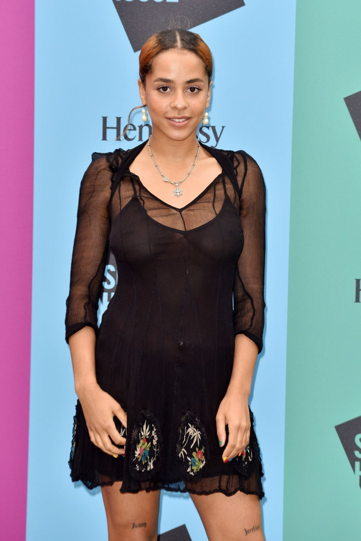 Olive Gray braless at Hennessy for the Culture Exhibition Launch in London 06/11/2019