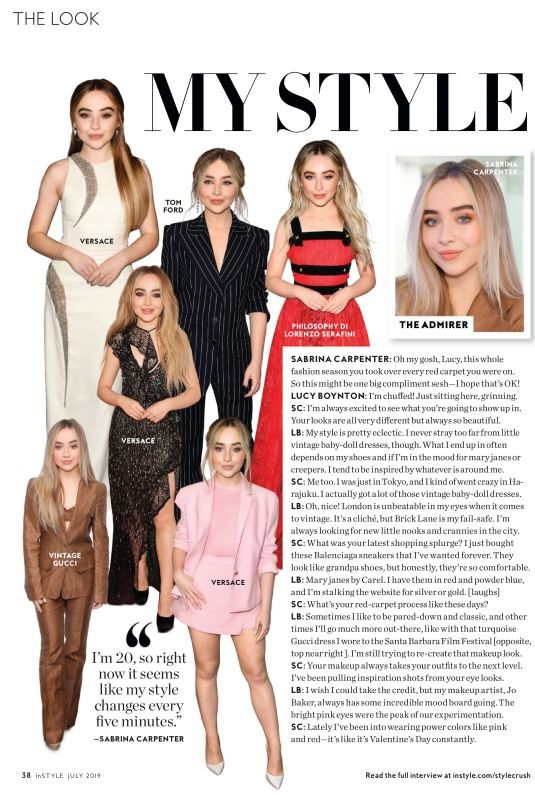 SABRINA CARPENTER and LUCY BOYNTON in Instyle Magazine, July 2019