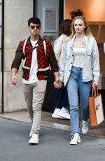 SOPHIE TURNER and Joe Jonas Shopiing at Celine Boutique in Paris 06/22/2019