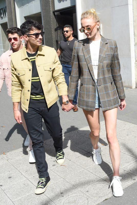 SOPHIE TURNER and Joe Jonas Shopping at Loewe Store in Paris 06/23/2019