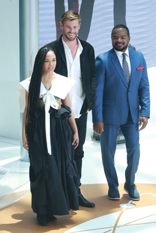 TESSA THOMPSON and Chris Hemsworth at Men in Black Press Conference in Beijing 06/09/2019