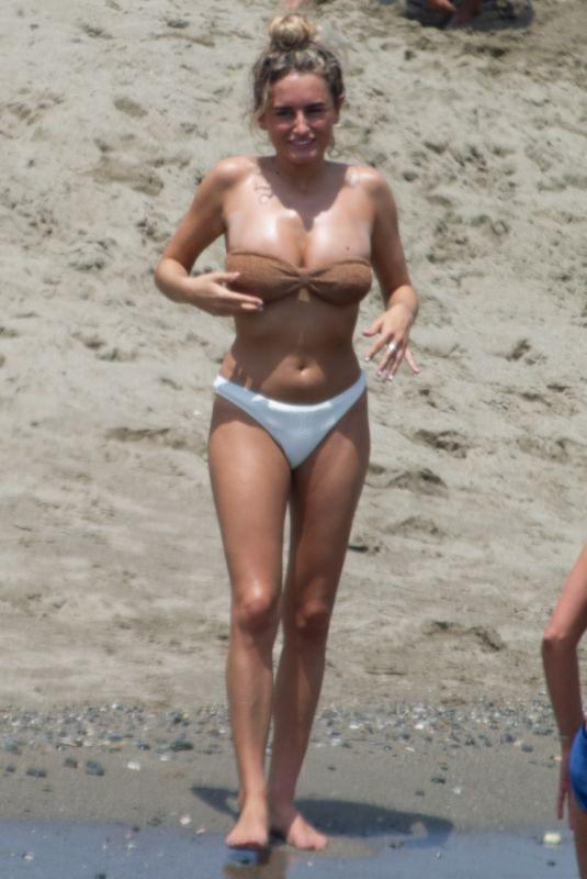 AMBER DAVIES in Bikini at a Beach in Marbella 07/22/2019