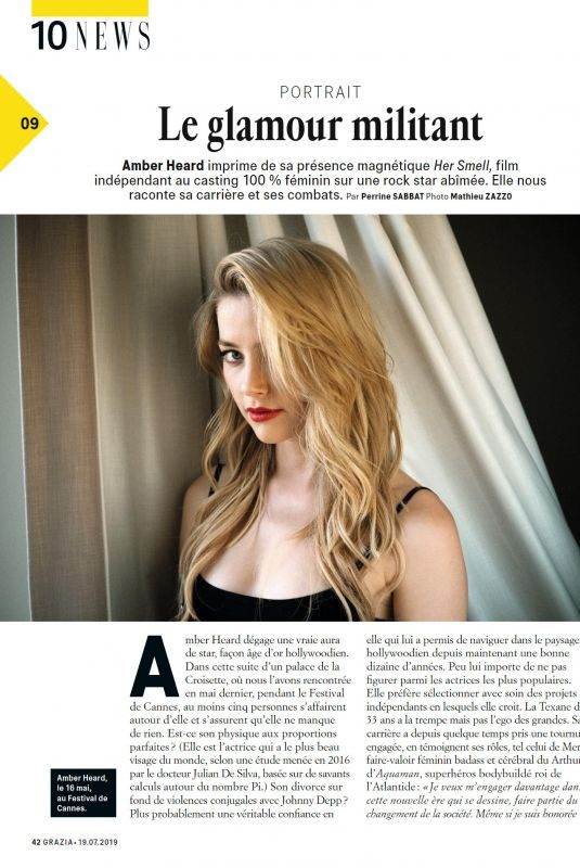 AMBER HEARD in Grazia Magazine, France July 2019