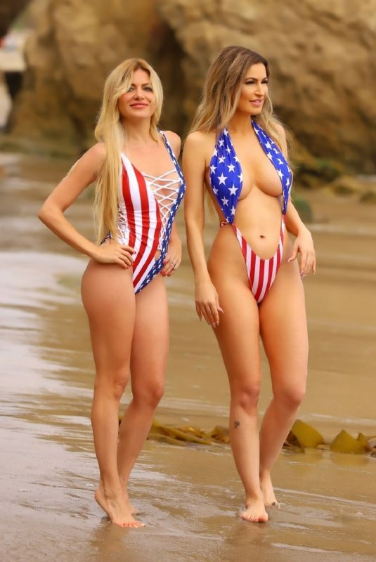 ANA BRAGA and SIMONA PAPADOPOULOS in Swimsuits on the Beach in Malibu 06/30/2019
