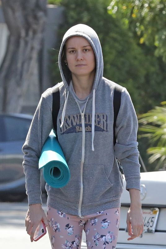BRIE LARSON Heading to Yoga Class in Los Angeles 07/13/2019