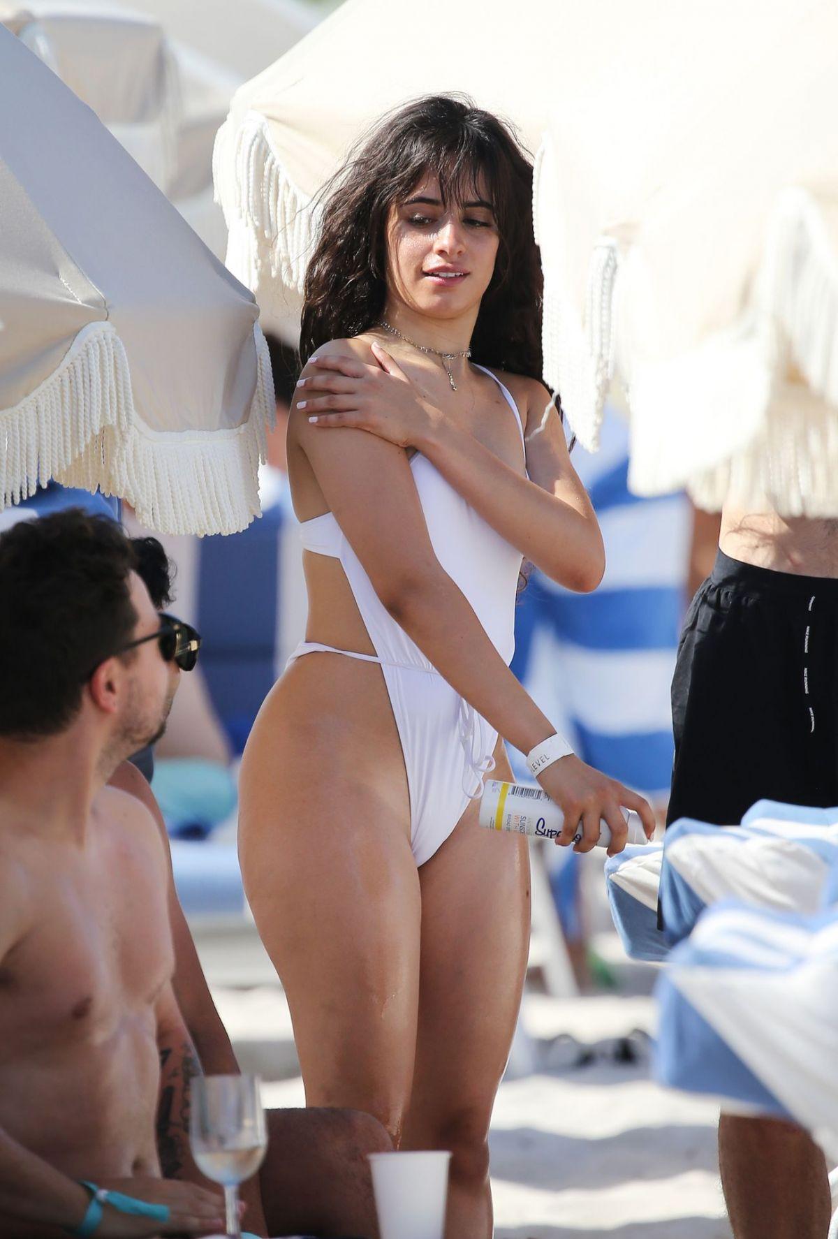 CAMILA CABELLO in Swimsuit at a Beach in Miami 07/29/2019
