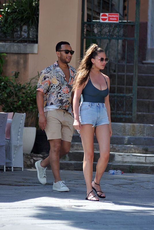 CHRISSY TEIGEN Out in Porto Venere 07/04/2019
