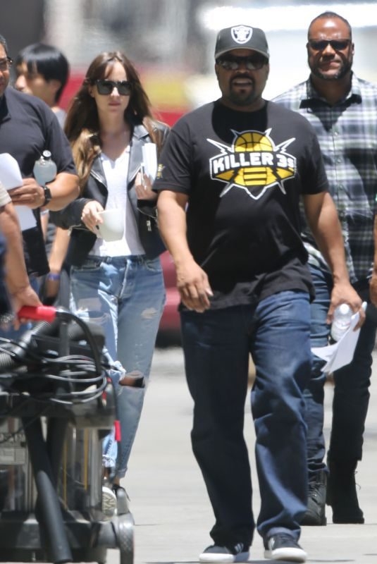 DAKOTA JOHNSON and Iice Cube on the Set Covers in Los Angeles 07/02/2019