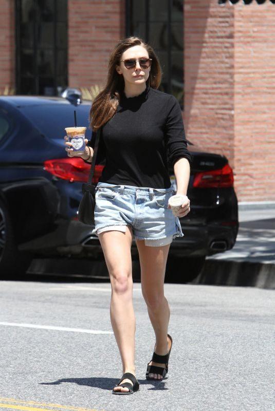 ELIZABETH OLSEN in Denim Shorts Leaves Alfred's Coffee in West Hollywood 07/17/2019