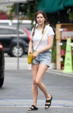 ELIZABETH OLSEN in Denim Shorts Shopping at Whole Foods in Los Angeles 07/09/2019