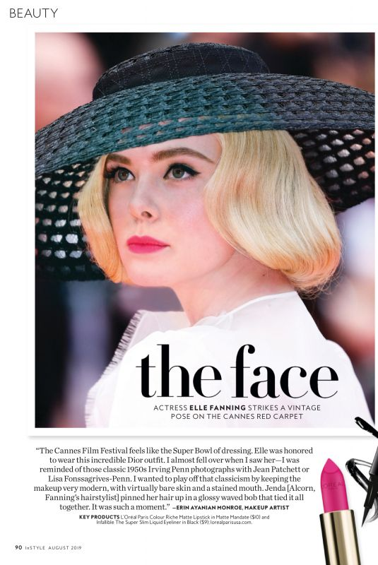 ELLE FANNING in Instyle Magazine, August 2019