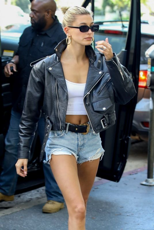 HAILEY BIEBER in Denim Shorts Arrives at Bed Bath and Beyond in Hollywood 07/10/2019