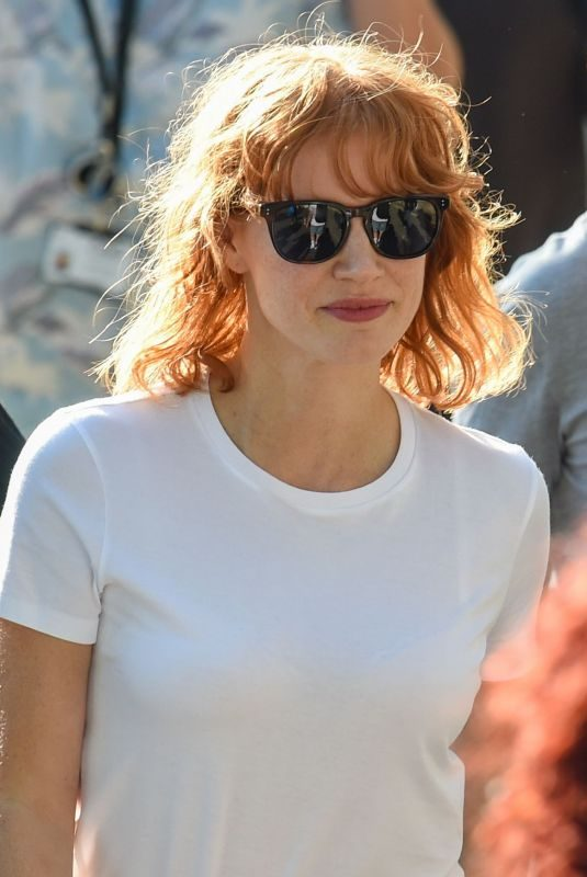 JESSICA CHASTAIN on the Set of 355 in Paris 07/12/2019