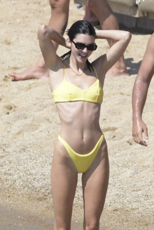 KENDALL JENNER in Yellow Bikini at Mykonos Island 07/08/2019
