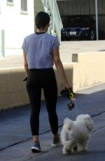 LUCY HALE Out with Her Dog in Studio City 07/28/2019