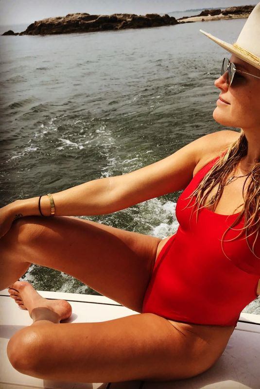 MALIN AKERMAN in Red Swimsuit - Instagram Picture 07/05/2019