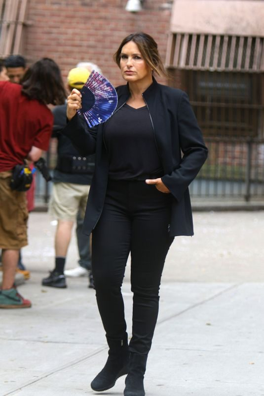 MARISKA HARGITAY on the Set of Law and Order: Special Victims Unit in New York 07/12/2019