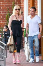 NICOLLETTE SHERIDAN Out with Her Dog in Los Angeles 07/11/2019
