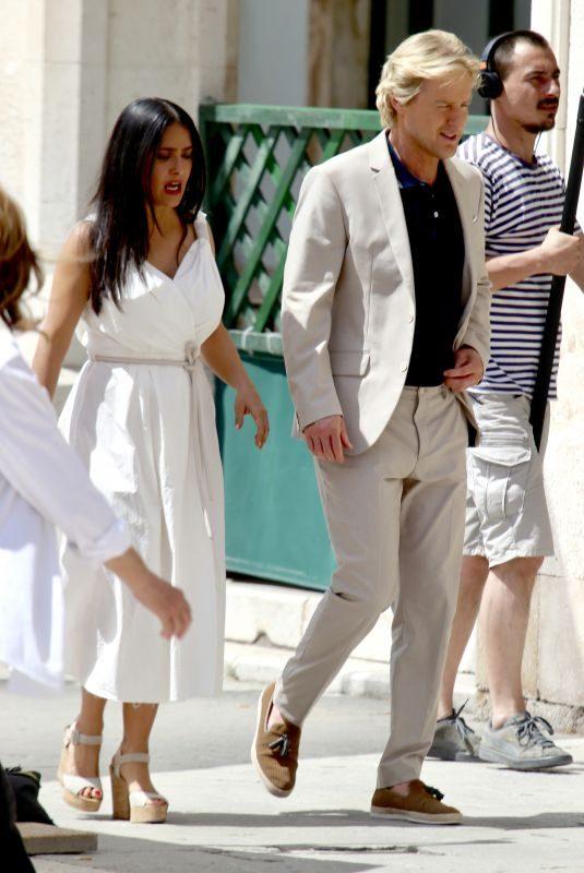 SALMA HAYEK and Owen Wilson on the Set of Bliss in Croatia 07/23/2019
