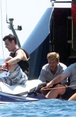 SOPHIE TURNER and Joe Jonas at a Yacht in Positano 07/14/2019