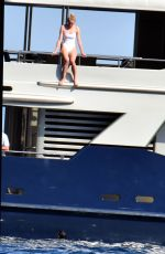 SOPHIE TURNER in Swimsuit at a Yacht in Italy 07/15/2019