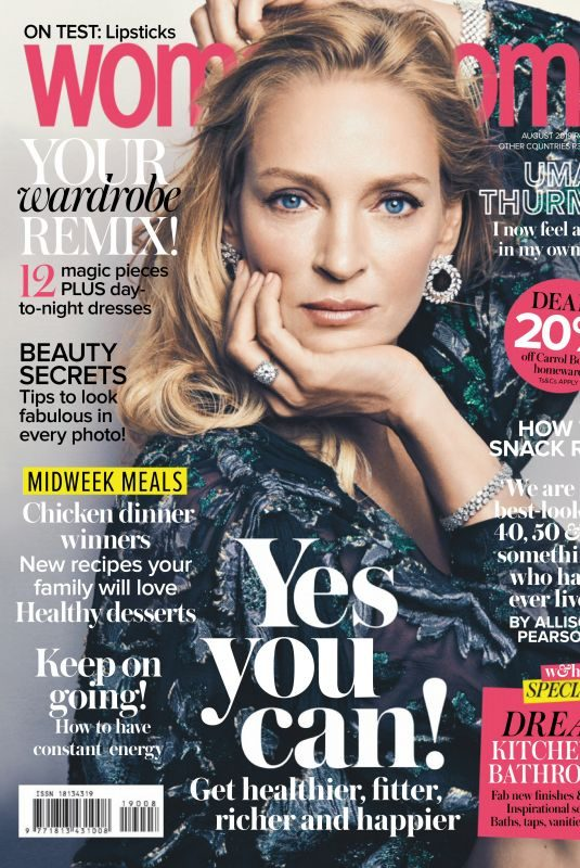 UMA THURMAN in Woman and Home Magazine, South Africa August 2019