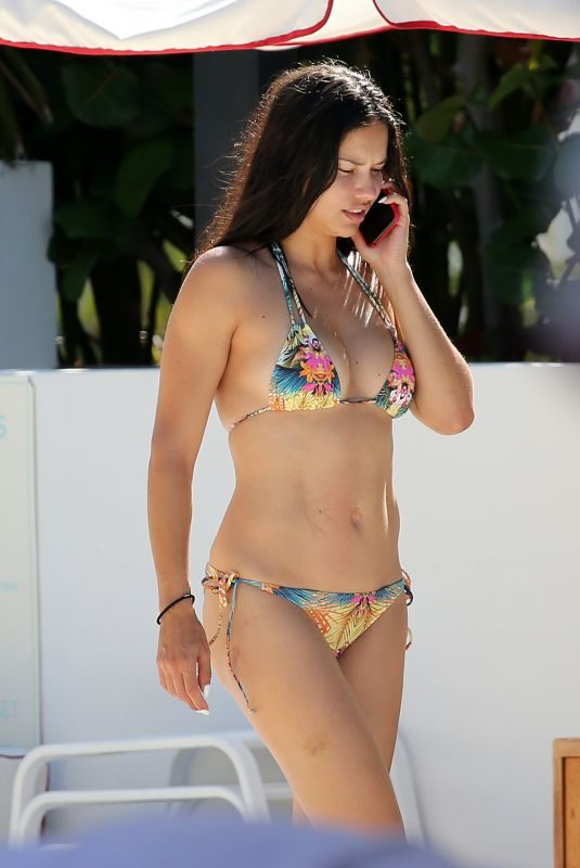 ADRIANA LIMA in Bikini at a Beach in Miami 08/13/2019