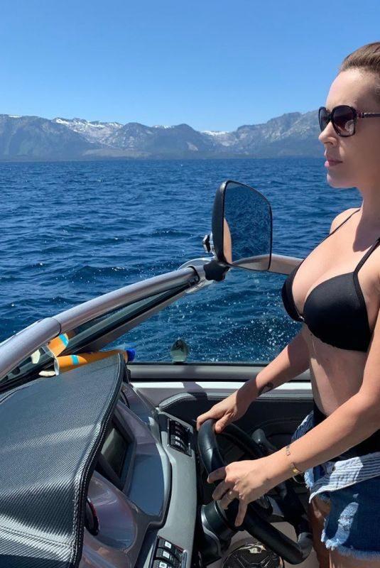 ALYSSA MILANO in Bikini Top at a Boat in Lake Tahoe 08/02/2019