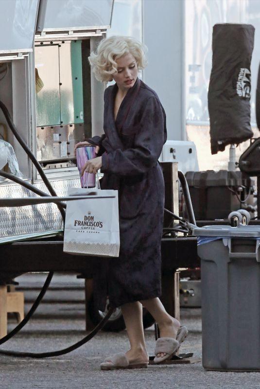 ANA DE ARMAS on the Set of Blonde in Los Angeles 08/20/2019
