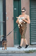 ASHLEY GREENE Out with Her Dogs in Studio City 08/05/2019