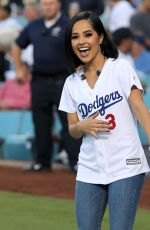 BECKY G Sing National Anthem at Dodger Stadium in Los Angeles 08/23/2019