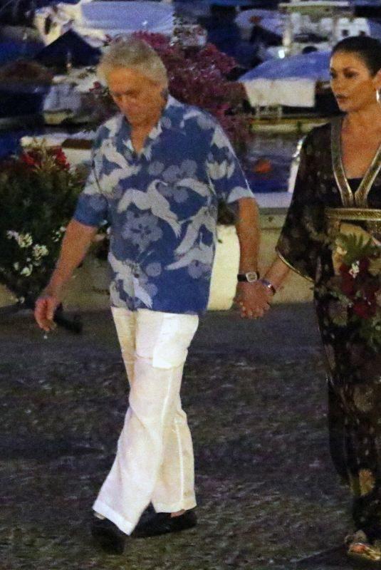 CATHERINE ZETA JONES and Michael Douglas Out in Italy 07/31/2019