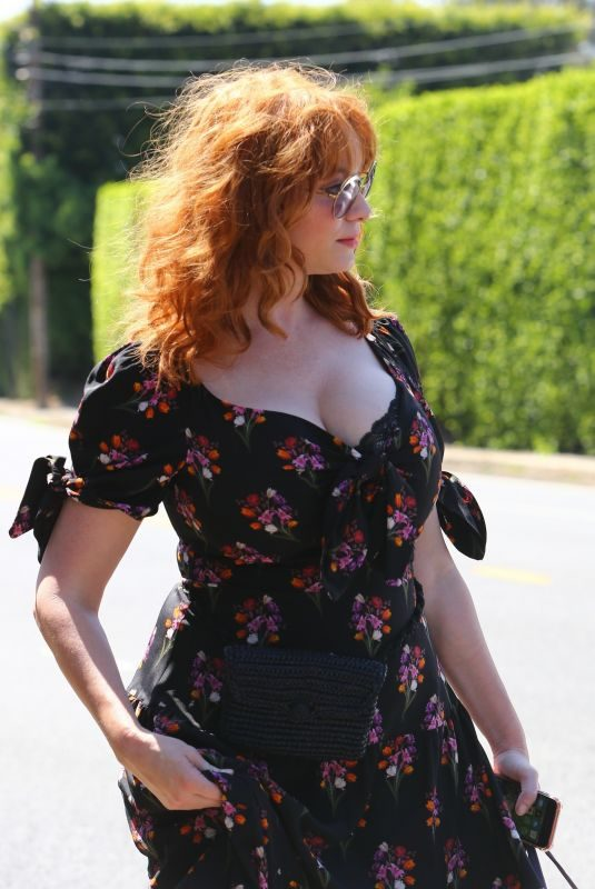 CHRISTINA HENDRICKS Arrives at Instyle Day of Indulgence Party in Brentwood 08/11/2019