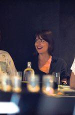 DAKOTA JOHNSON and Chris Martin at Double Zero Restaurant in New York 08/27/2019