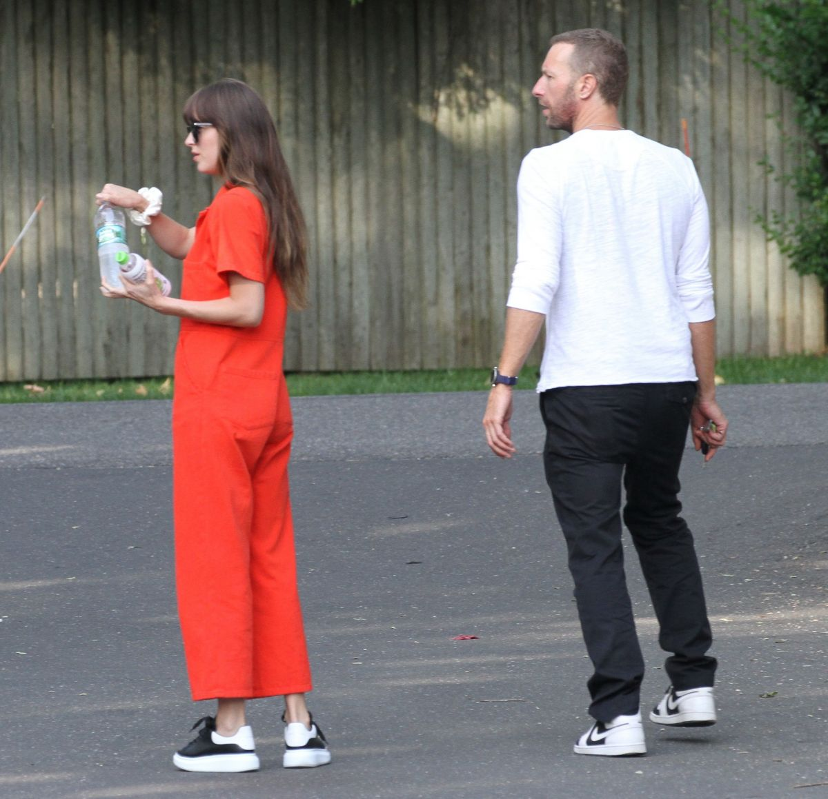 DAKOTA JOHNSON and Chris Martin Out for Lunch in The ...