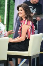 DAPHNE ZUNIGA on the Set of Extra in Los Angeles 08/15/2019
