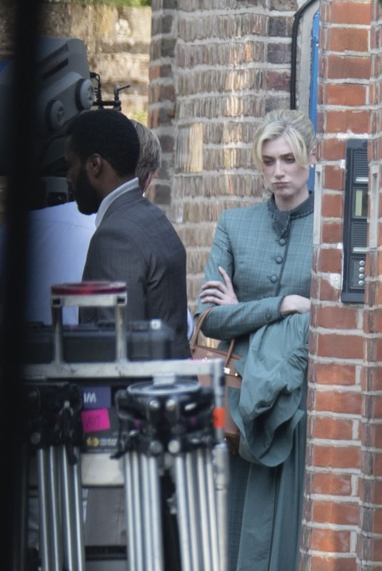 ELIZABETH DEBICKI on the Set on Tenet in London 08/27/2019