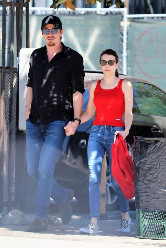 EMMA ROBERTS and Garrett Hedlund Out in Los Angeles 08/27/2019