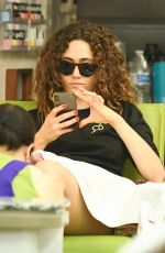 EMMY ROSSUM at a Nails Salon in Beverly Hills 08/10/2019