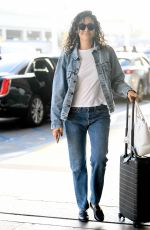 EMMY ROSSUM in Double DENIM at LAX Airport in Los Angeles 08/07/2019
